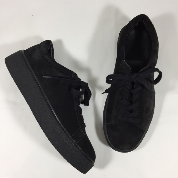 0de79f1a5c4 VINCE Neela Black Leather Suede Platform Sneakers